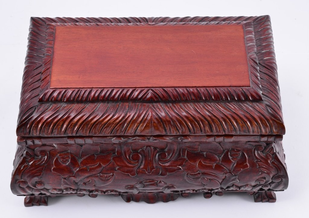Carved Casket Style Wood Box - 4