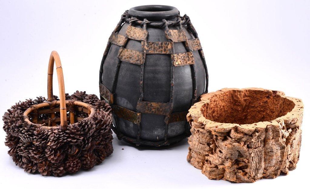 Ceramic & Metal Jug w/Pine Cone Basket & Stump