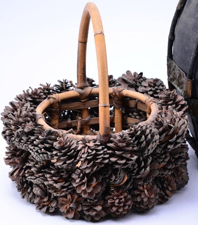 Ceramic & Metal Jug w/Pine Cone Basket & Stump - 2