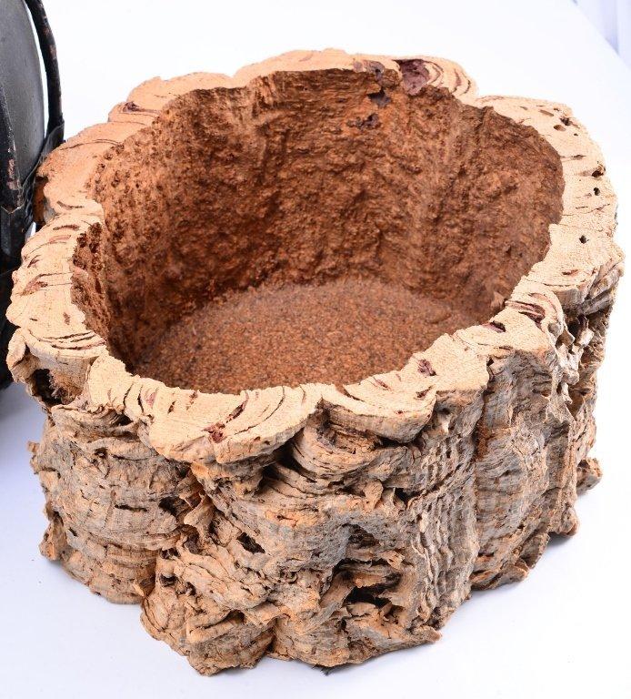 Ceramic & Metal Jug w/Pine Cone Basket & Stump - 3