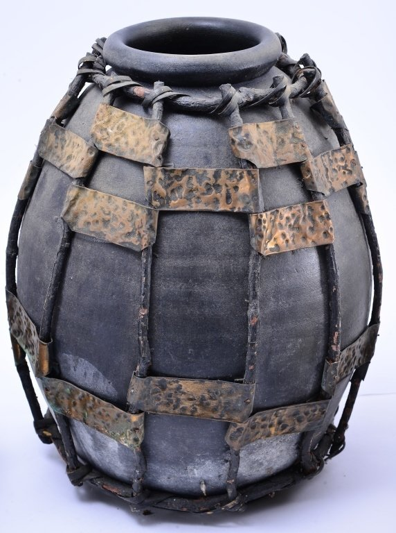 Ceramic & Metal Jug w/Pine Cone Basket & Stump - 4