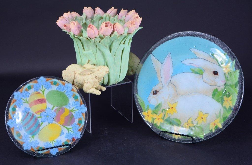 Bunny & Tulip Planter & Glass Plates