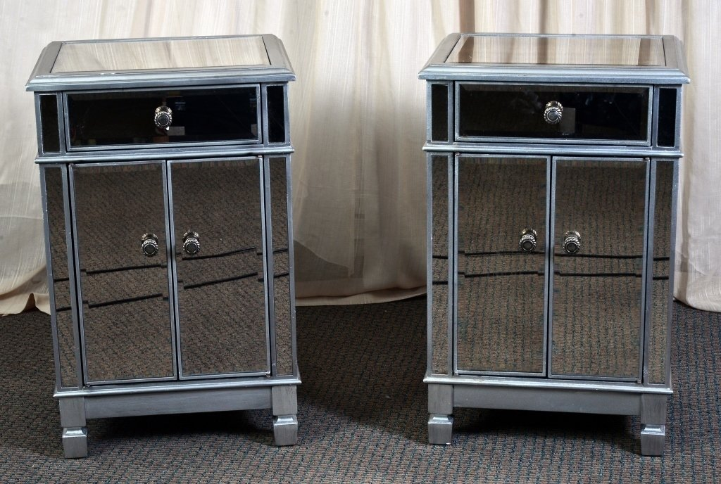 Pair Mirrored End Cabinets