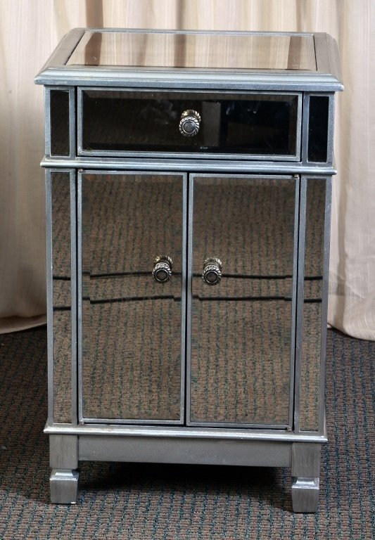 Pair Mirrored End Cabinets - 2