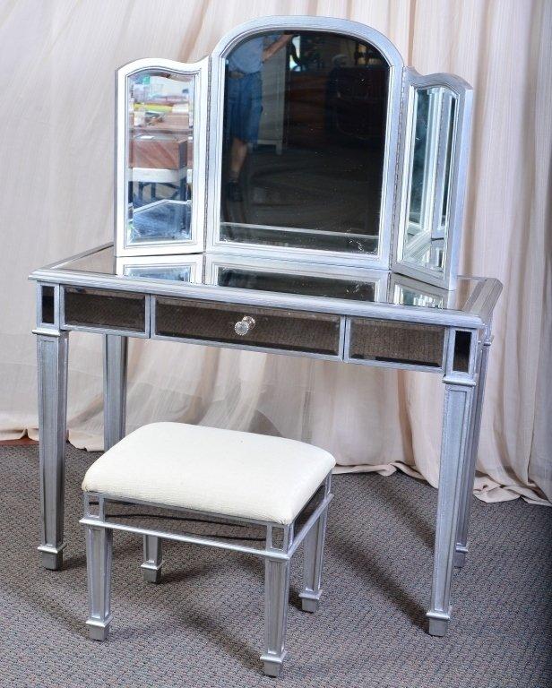 Mirrored Vanity w/Bench & Tri-Fold Mirror