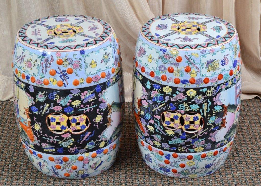 Pair Oriental Garden Seats