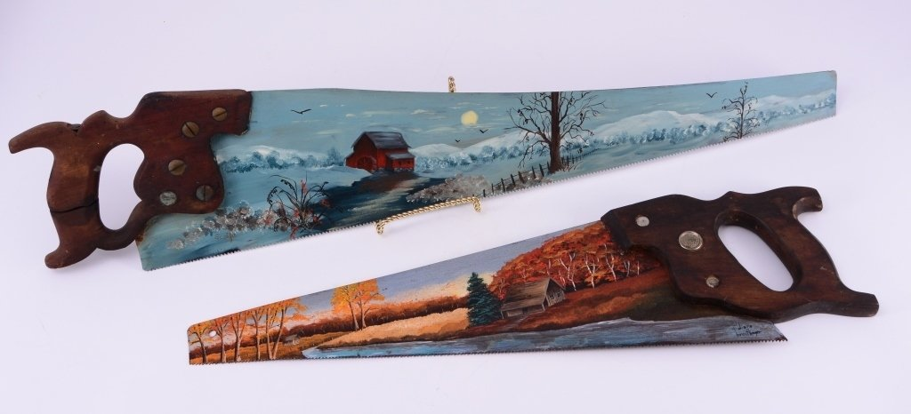 Two Handpainted Saws