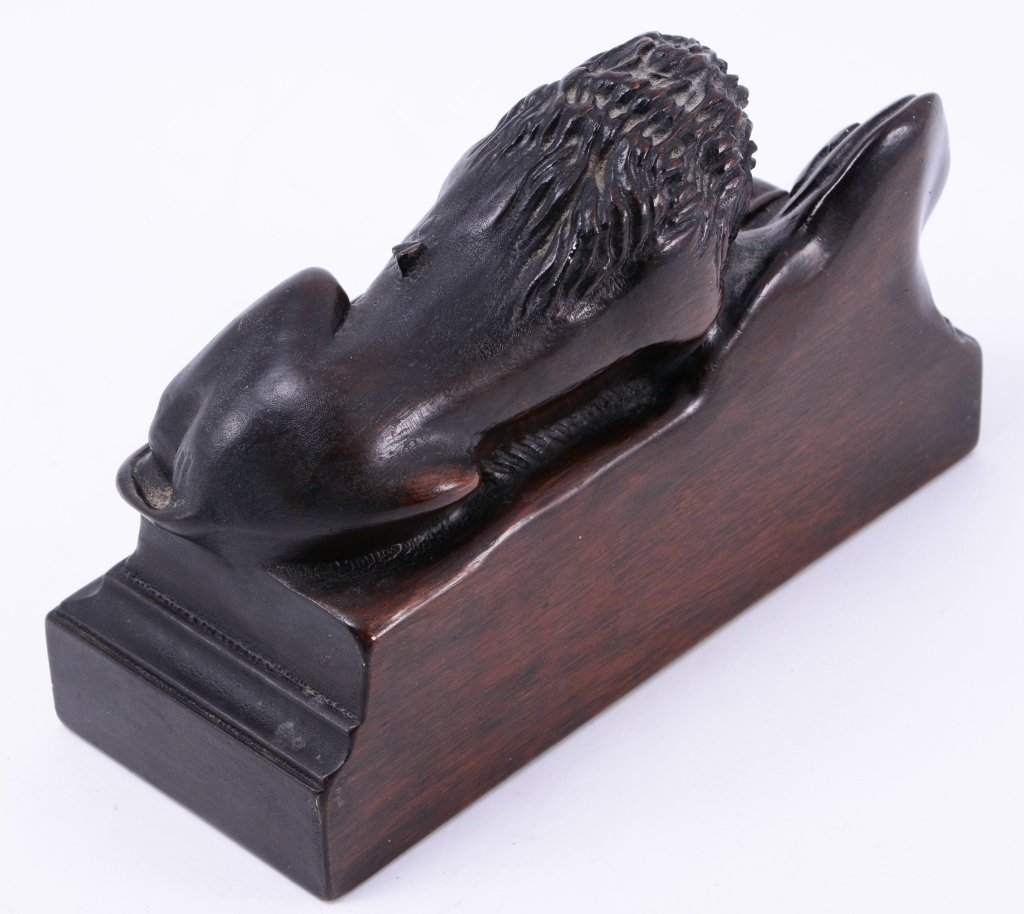 Carved Solid Mahogany Lion Bookends - 4