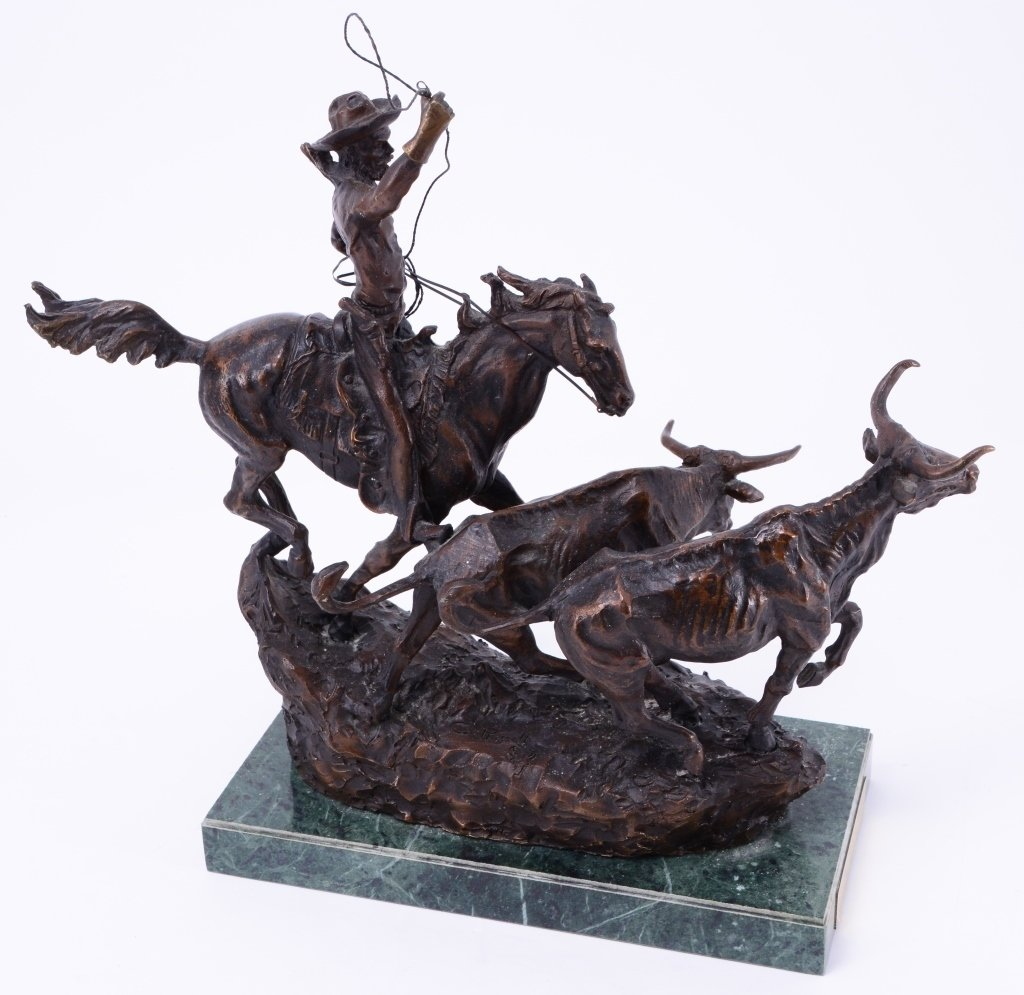 C. M. Russell The Round Up Bronze - 3