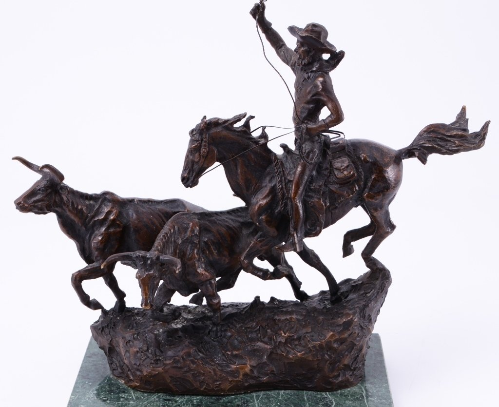 C. M. Russell The Round Up Bronze - 4