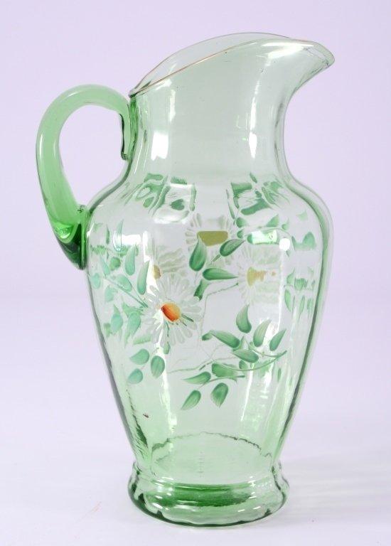 Vintage Green Glass Pitcher