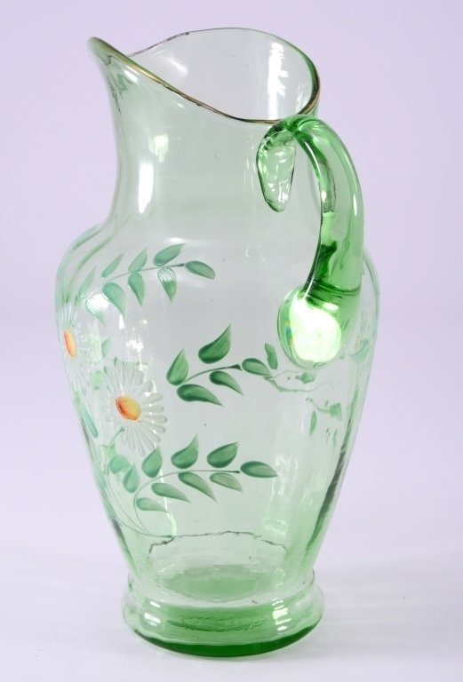 Vintage Green Glass Pitcher - 2