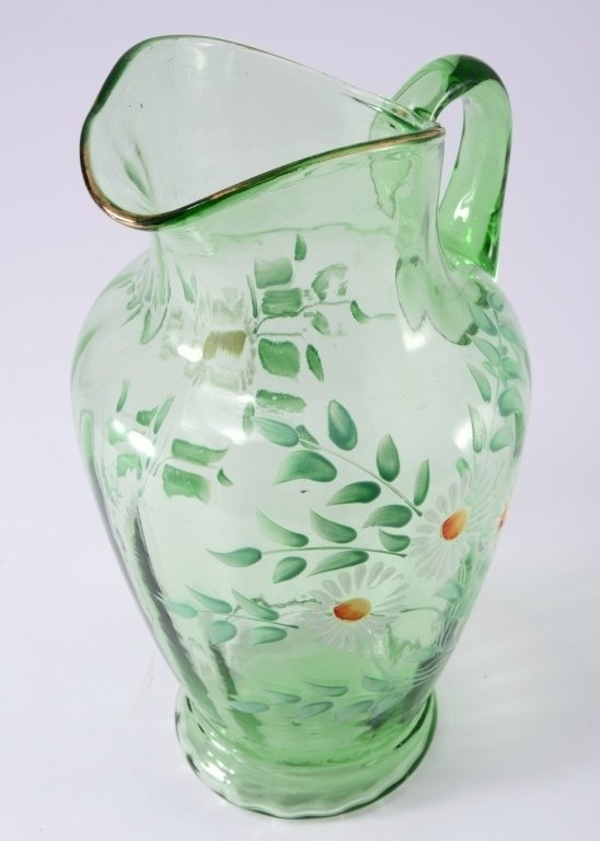Vintage Green Glass Pitcher - 3