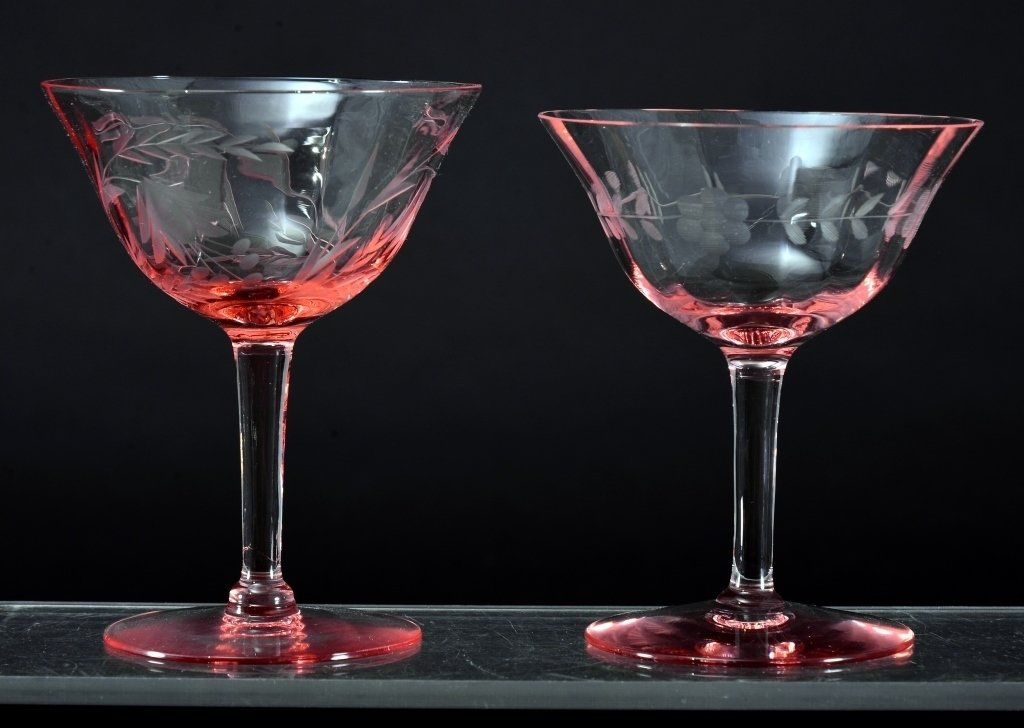 8 Etched Pink Champagne/Sherbets - 2