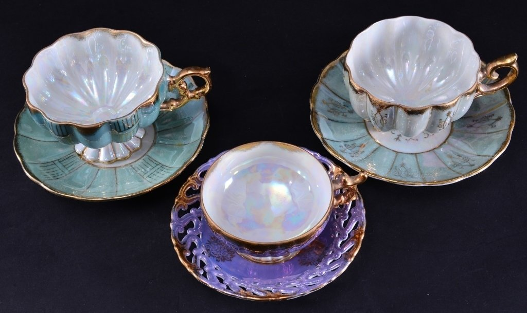 Japanese Lusterware Cups & Saucers - 4