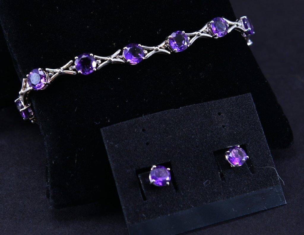 Sterling Amethyst Bracelet & Earrings