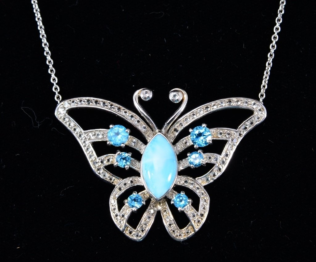 Sterling Butterfly Necklace w/Larimar Center Sone
