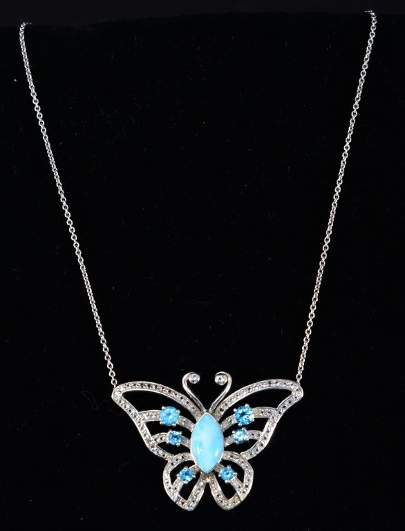 Sterling Butterfly Necklace w/Larimar Center Sone - 2