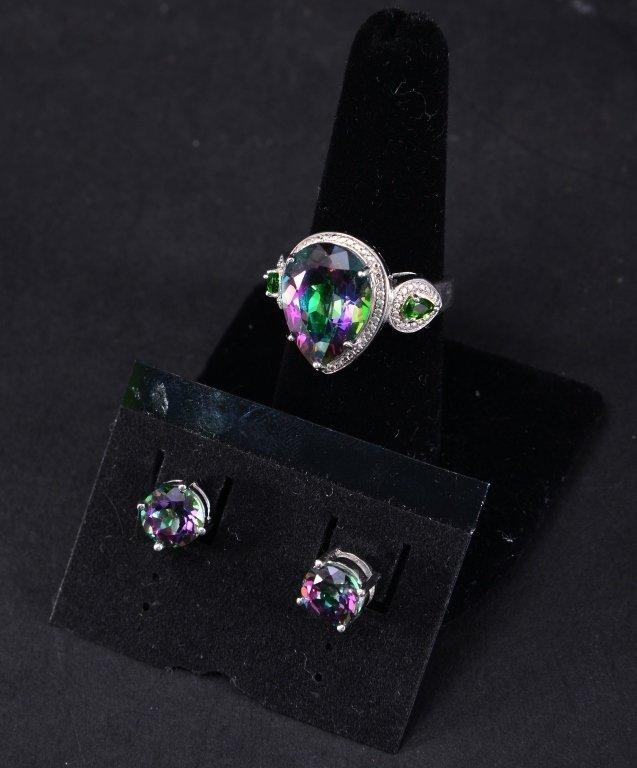 Sterling Mystic Topaz Ring & Earrings