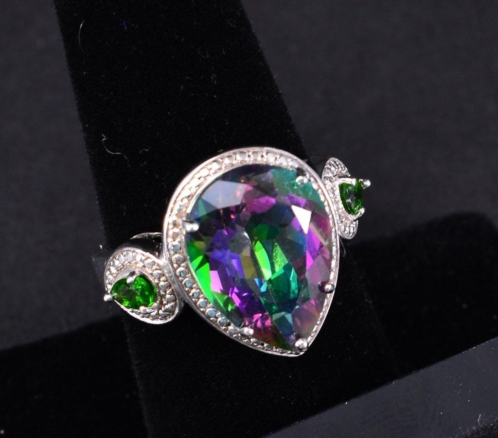 Sterling Mystic Topaz Ring & Earrings - 2