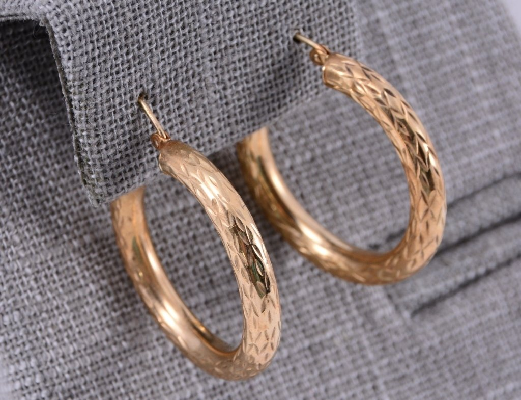 10K Gold Engraved Hoop Earrings