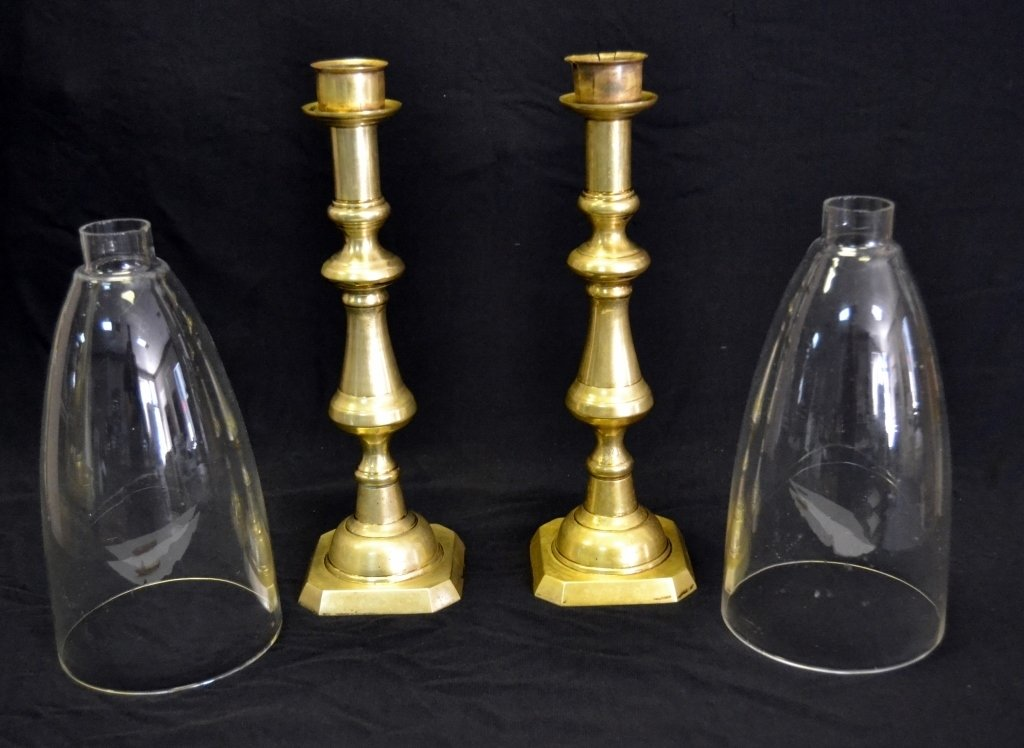 Pair Brass Candlesticks with Hurricane Shades - 2