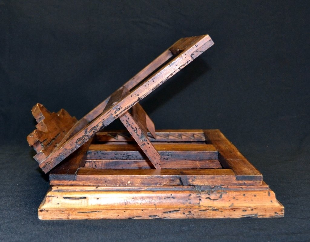 Distressed Adjustable Wood Book Stand - 2