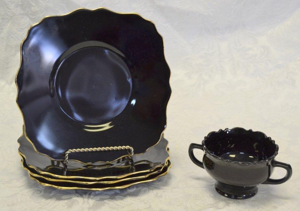 4 Black Amethyst Glass Gold Trim Plates