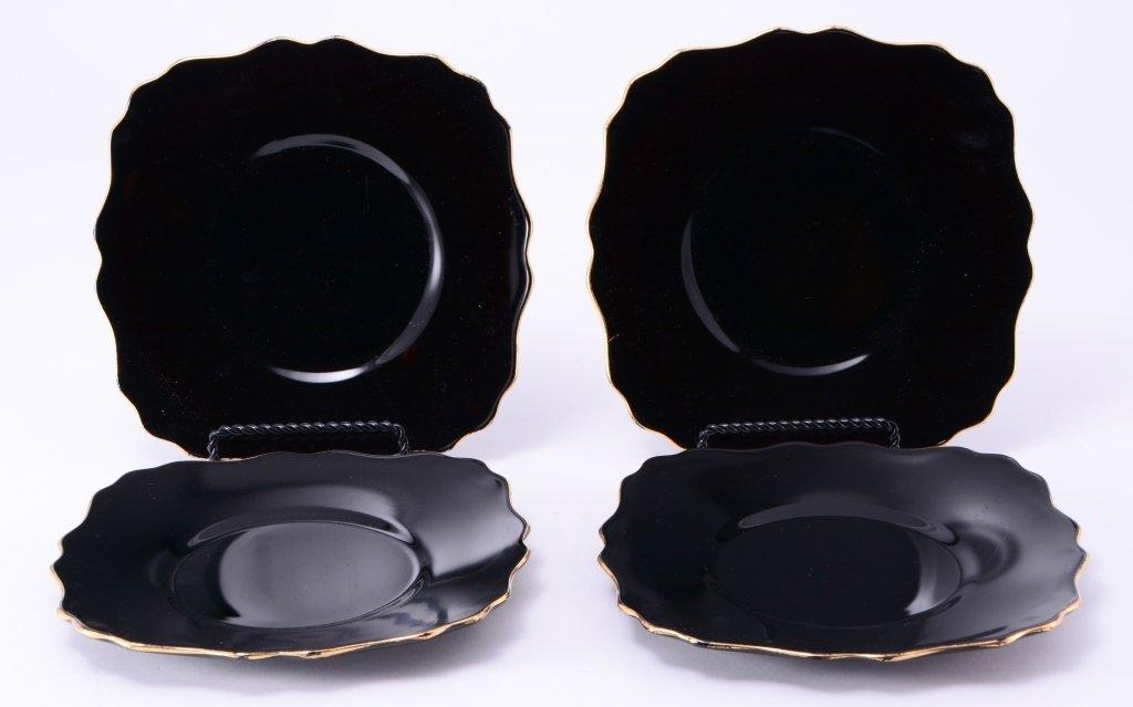 4 Black Amethyst Glass Gold Trim Plates - 2