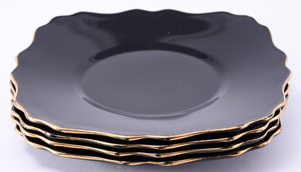 4 Black Amethyst Glass Gold Trim Plates - 3