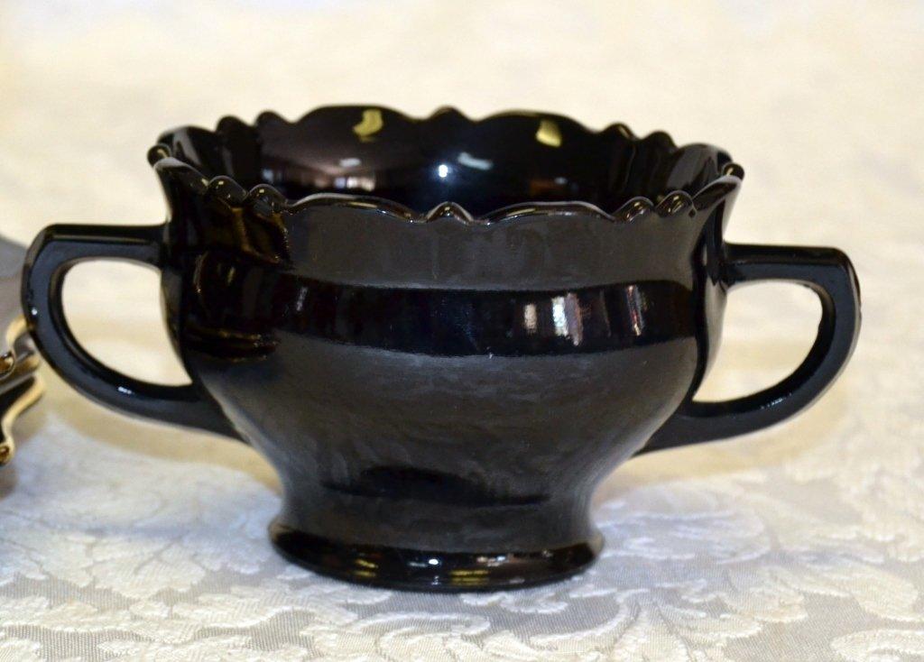 4 Black Amethyst Glass Gold Trim Plates - 4