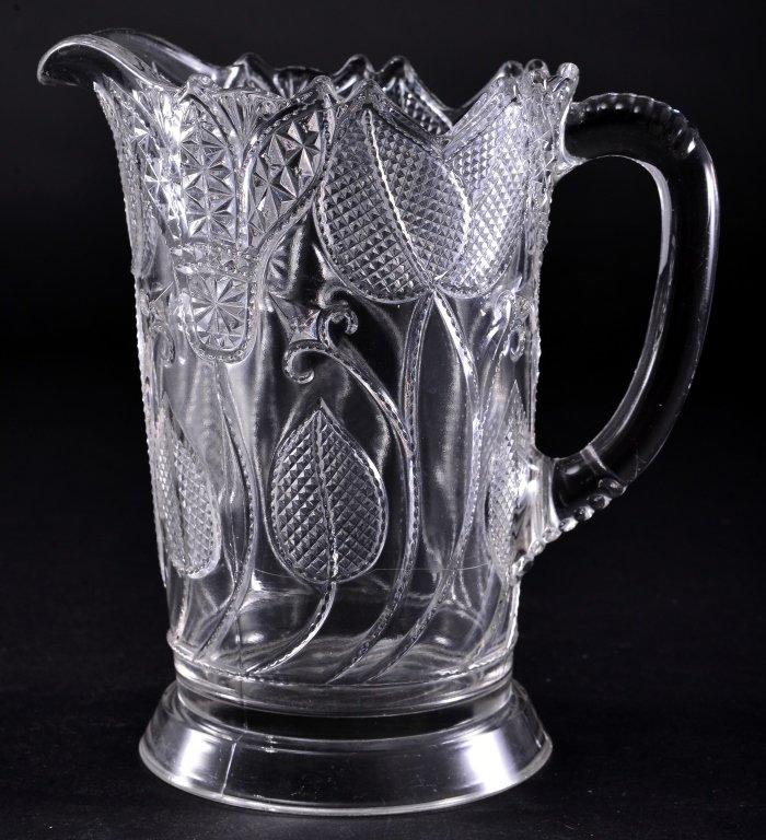 Vintage Floral Pressed Glass Pitcher
