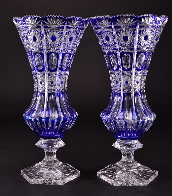Pair Tall Blue Cut to Clear Vases