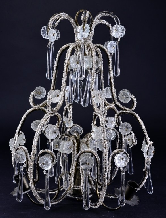 Vintage Beaded Chandelier for Candles