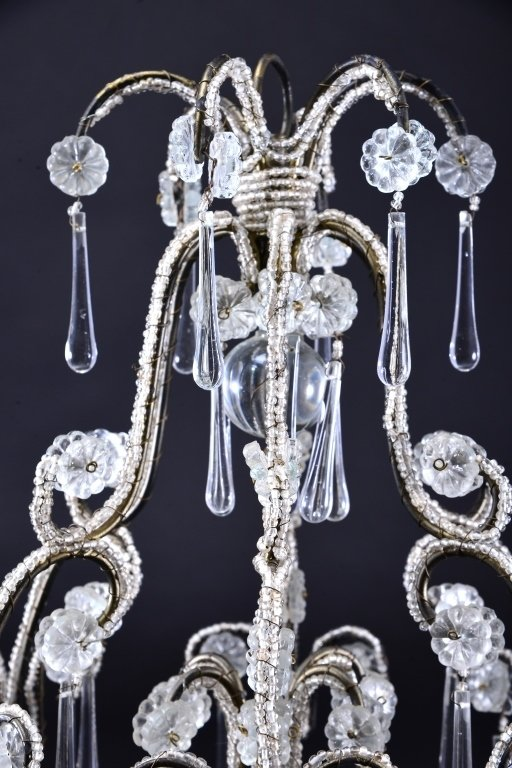 Vintage Beaded Chandelier for Candles - 3