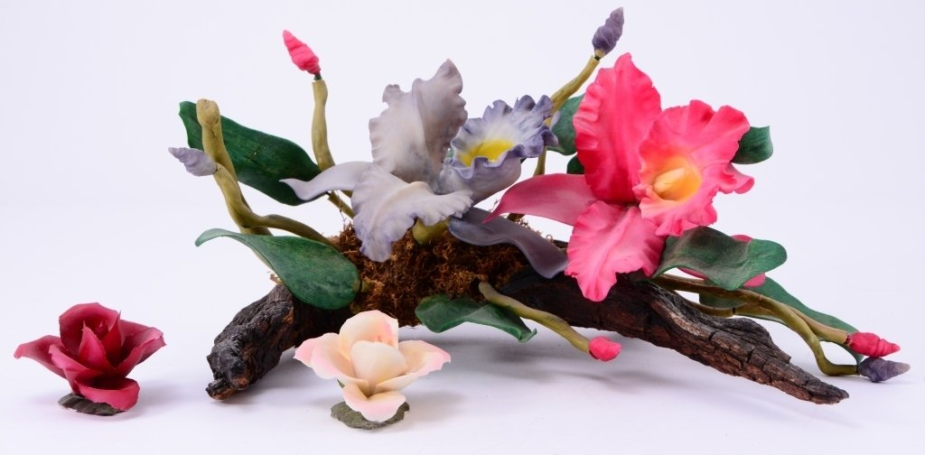 Ceramic Flowers on Driftwood Plus