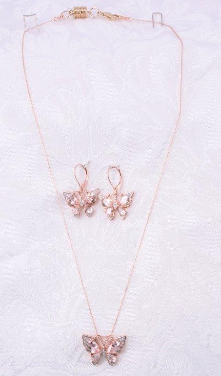 10K Morganite & Diamond Necklace & Earrings