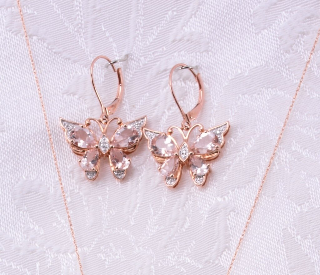 10K Morganite & Diamond Necklace & Earrings - 2