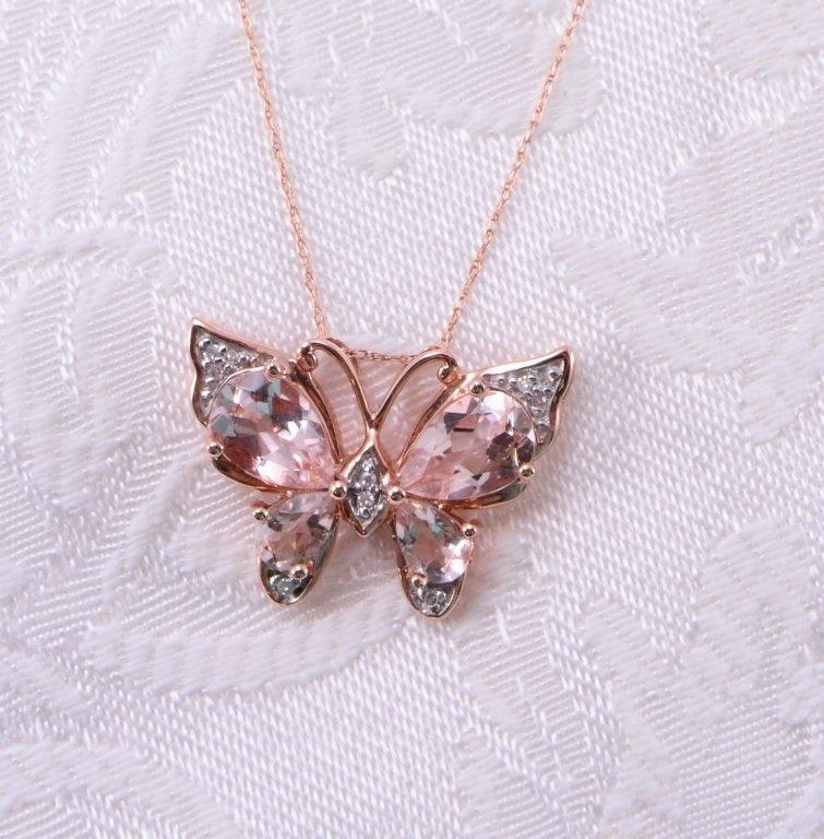 10K Morganite & Diamond Necklace & Earrings - 3