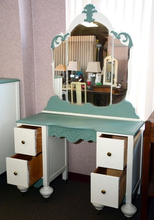 1930s Painted Vanity and Mirror