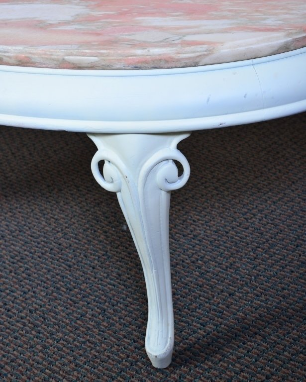 White Curving Coffee Table w/Marble Top - 4