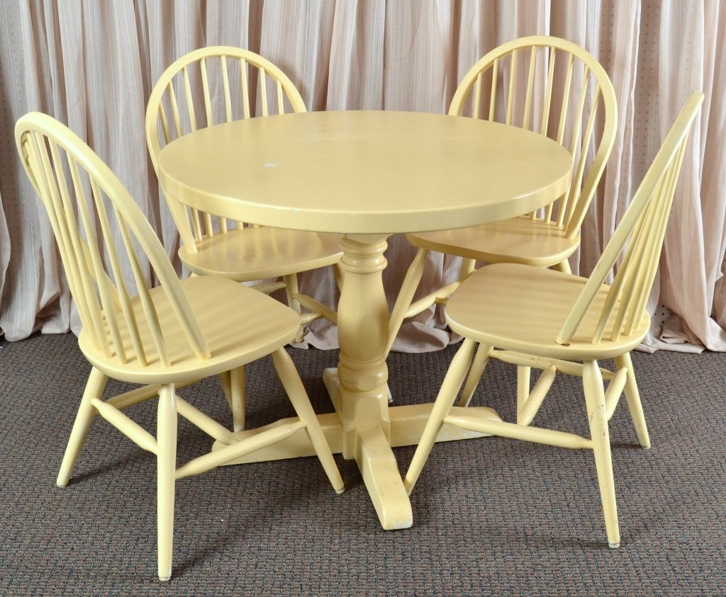 Solid Wood Round Table & 4 Chairs