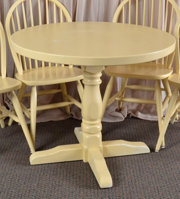 Solid Wood Round Table & 4 Chairs - 2