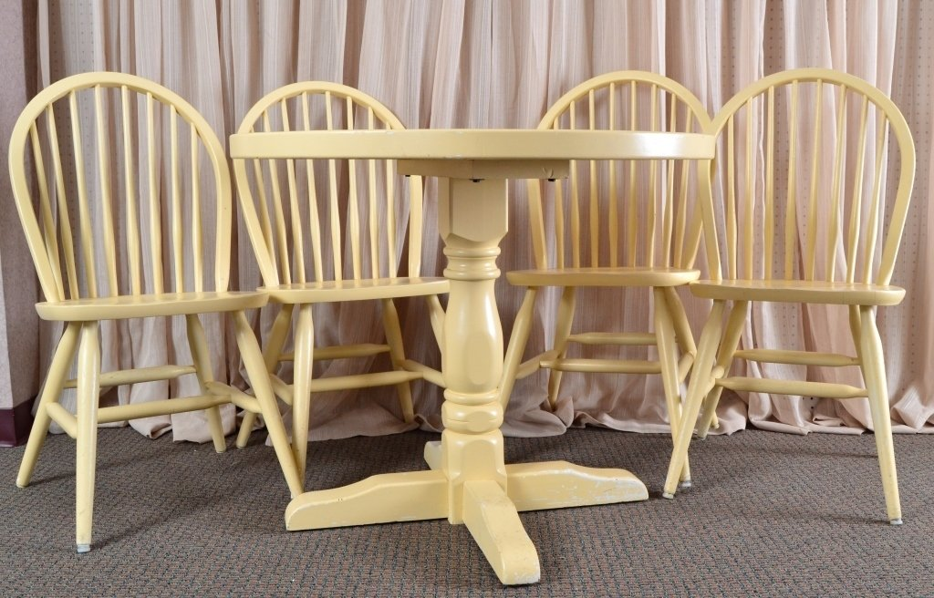 Solid Wood Round Table & 4 Chairs - 3