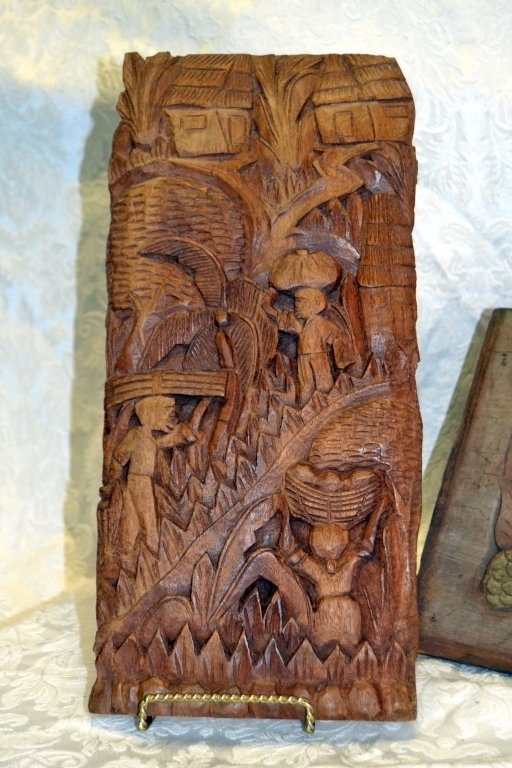 3 Hand Carved Wood Wall Panels - 2