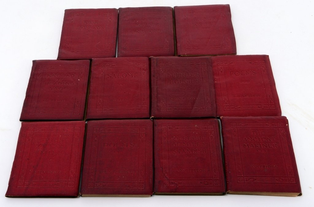 11 Red Volumes Little Leather Library