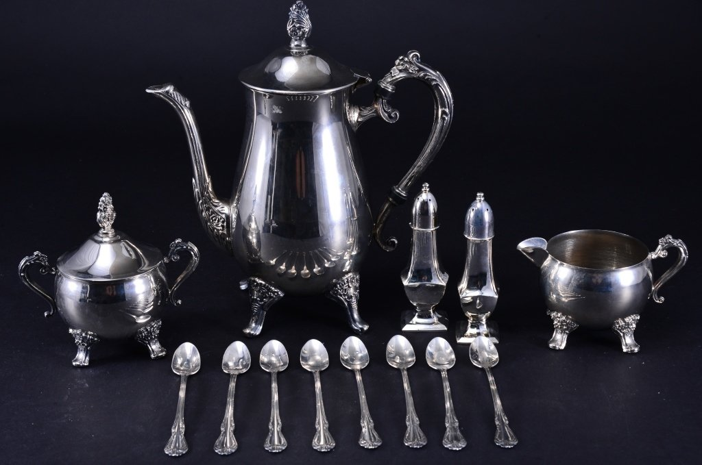 Silverplate Coffee Pot, Creamer, Sugar and More