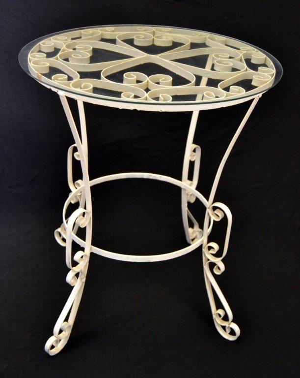Vintage Round Scrolling Metal Table