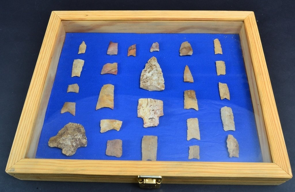 Broken Arrowheads in Wooden Locking Box