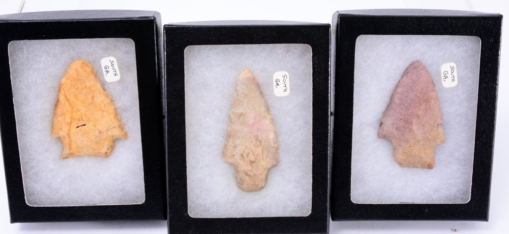 Three South Georgia Arrowheads in Riker Boxes